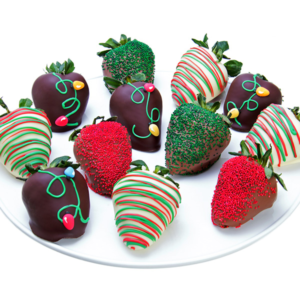 Christmas Lights Chocolate Covered Strawberries